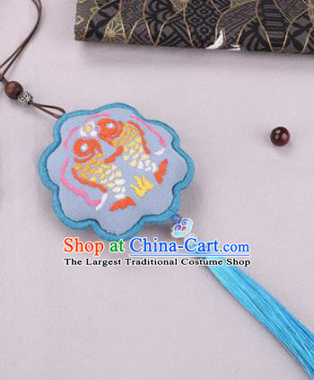 Traditional Chinese Handmade Embroidery Blue Hazelin Pendant Embroidered Amulet Accessories