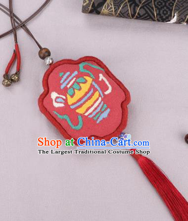 Traditional Chinese Handmade Embroidery Red Hazelin Pendant Embroidered Amulet Accessories