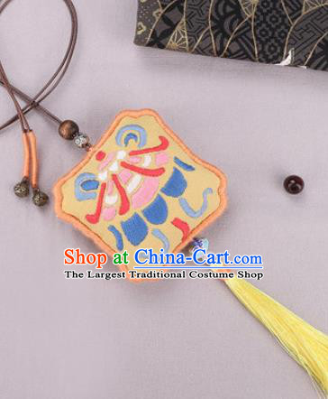Traditional Chinese Handmade Embroidery Yellow Hazelin Pendant Embroidered Amulet Accessories