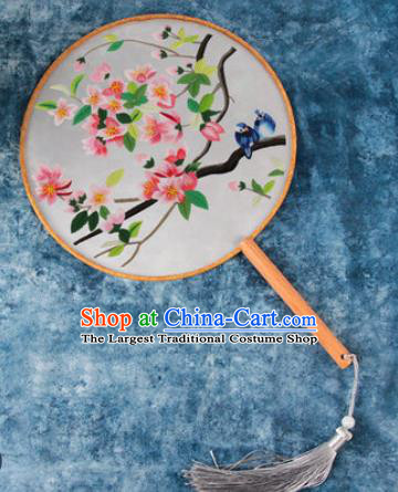 Chinese Traditional Handmade Embroidery Peach Blossom Silk Round Fan Embroidered Palace Fans