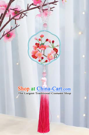 Traditional Chinese Handmade Embroidery Plum Blossom Hazelin Pendant Embroidered Amulet Accessories