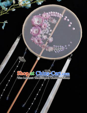 Chinese Traditional Handmade Embroidery Purple Camellia Silk Round Fan Embroidered Palace Fans