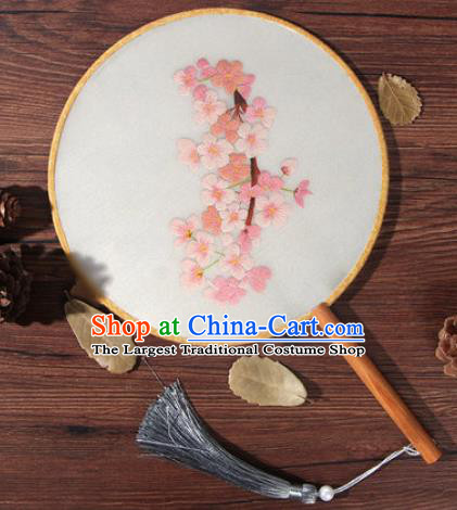 Chinese Traditional Handmade Embroidery Pink Sakura Silk Round Fan Embroidered Palace Fans
