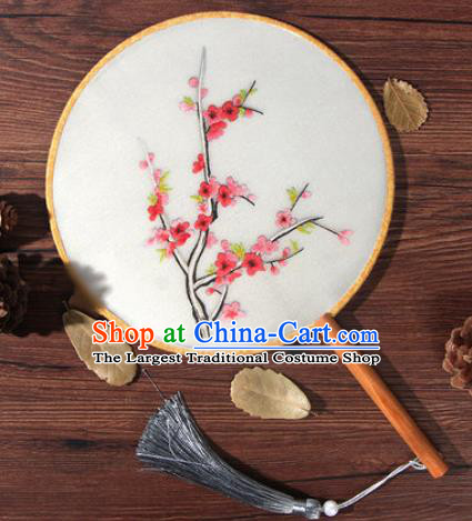 Chinese Traditional Handmade Embroidery Plum Silk Round Fan Embroidered Palace Fans