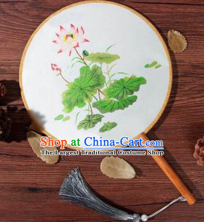 Chinese Traditional Handmade Embroidery Lotus Silk Round Fan Embroidered Palace Fans