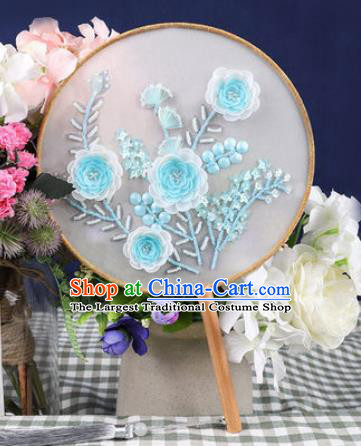 Chinese Traditional Handmade Embroidery Blue Camellia Round Fan Embroidered Palace Fans