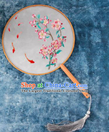 Chinese Traditional Handmade Embroidery Peach Blossom Carp Round Fan Embroidered Palace Fans