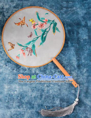 Chinese Traditional Handmade Embroidery Orchid Butterfly Round Fan Embroidered Palace Fans