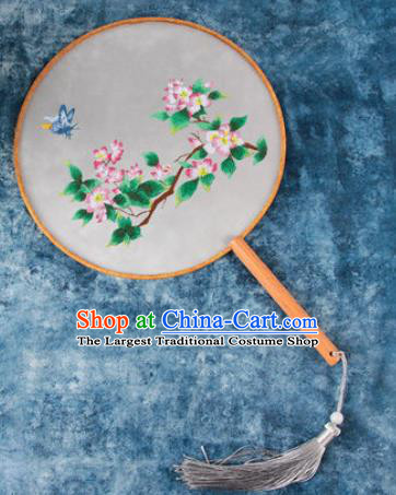 Chinese Traditional Handmade Embroidery Pink Begonia Round Fan Embroidered Palace Fans