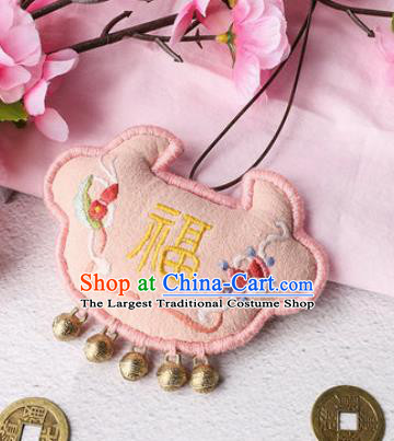Traditional Chinese Handmade Embroidery Pink Longevity Lock Pendant Embroidered Amulet Accessories