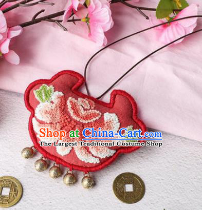 Traditional Chinese Handmade Embroidery Chrysanthemum Red Longevity Lock Pendant Embroidered Amulet Accessories