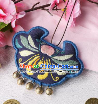 Traditional Chinese Handmade Embroidery Lotus Navy Longevity Lock Pendant Embroidered Amulet Accessories