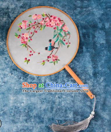 Chinese Traditional Handmade Embroidery Begonia Birds Round Fan Embroidered Palace Fans