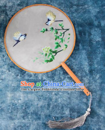 Chinese Traditional Handmade Embroidery Green Flower Round Fan Embroidered Palace Fans
