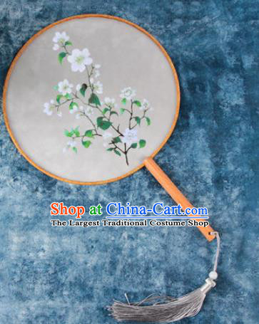 Chinese Traditional Handmade Embroidery White Flowers Round Fan Embroidered Palace Fans