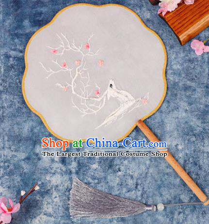 Chinese Traditional Handmade Embroidery White Deer Round Fan Embroidered Palace Fans