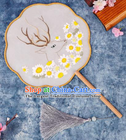 Chinese Traditional Handmade Embroidery Deer Sunflowers Round Fan Embroidered Palace Fans
