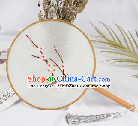 Chinese Traditional Handmade Embroidery Plum Flower Round Fan Embroidered Palace Fans