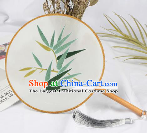 Chinese Traditional Handmade Embroidery Bamboo Leaf Round Fan Embroidered Palace Fans