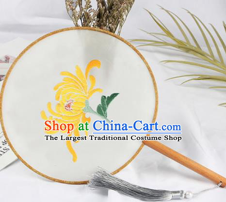 Chinese Traditional Handmade Embroidery Chrysanthemum Round Fan Embroidered Palace Fans