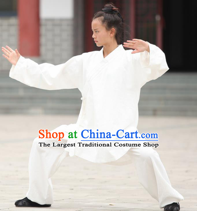 Chinese Traditional Martial Arts White Outfits Kung Fu Taoist Priest Tai Chi Costume for Men