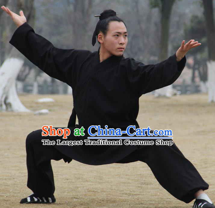 Chinese Traditional Martial Arts Black Outfits Kung Fu Taoist Priest Tai Chi Costume for Men