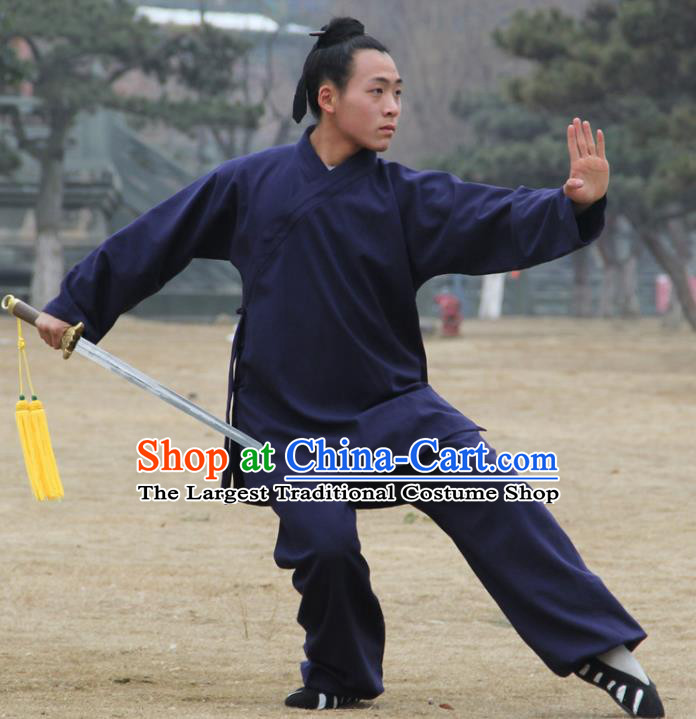 Chinese Traditional Martial Arts Navy Outfits Kung Fu Taoist Priest Tai Chi Costume for Men