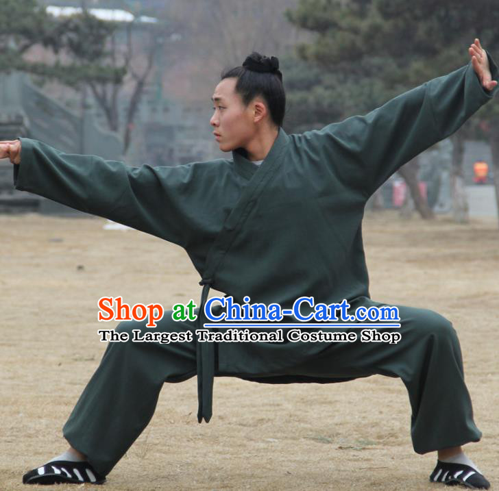 Chinese Traditional Martial Arts Deep Green Outfits Kung Fu Taoist Priest Tai Chi Costume for Men