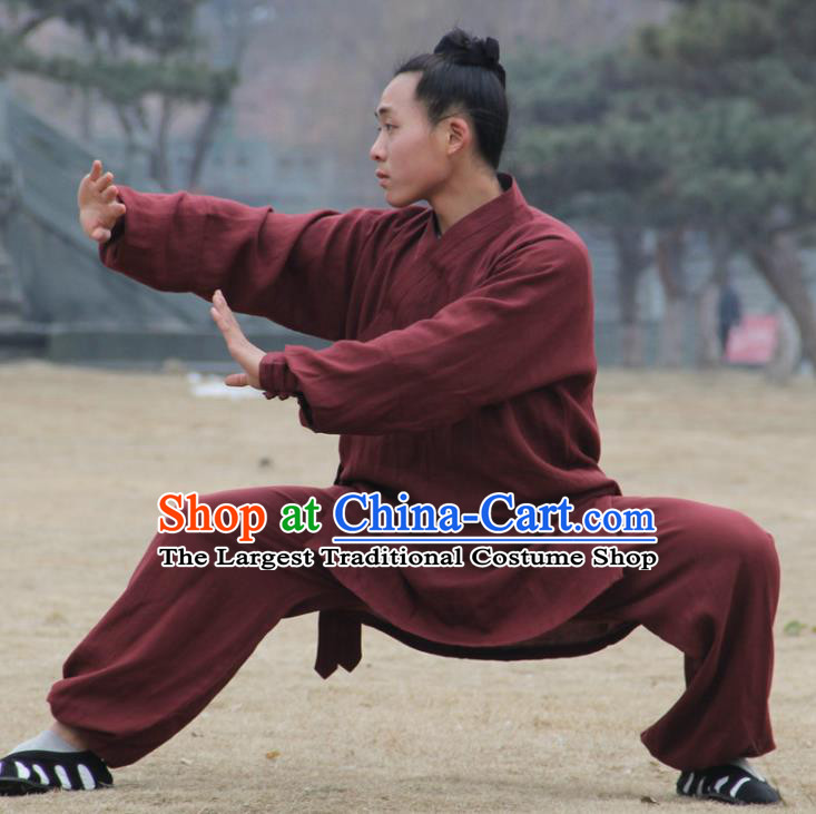 Chinese Traditional Martial Arts Purplish Red Outfits Kung Fu Taoist Priest Tai Chi Costume for Men