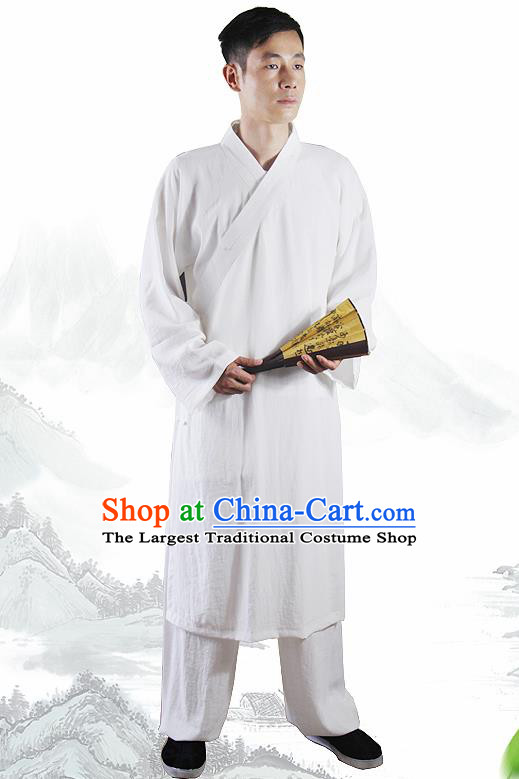 Chinese Traditional Martial Arts White Flax Robe Kung Fu Taoist Priest Tai Chi Costume for Men