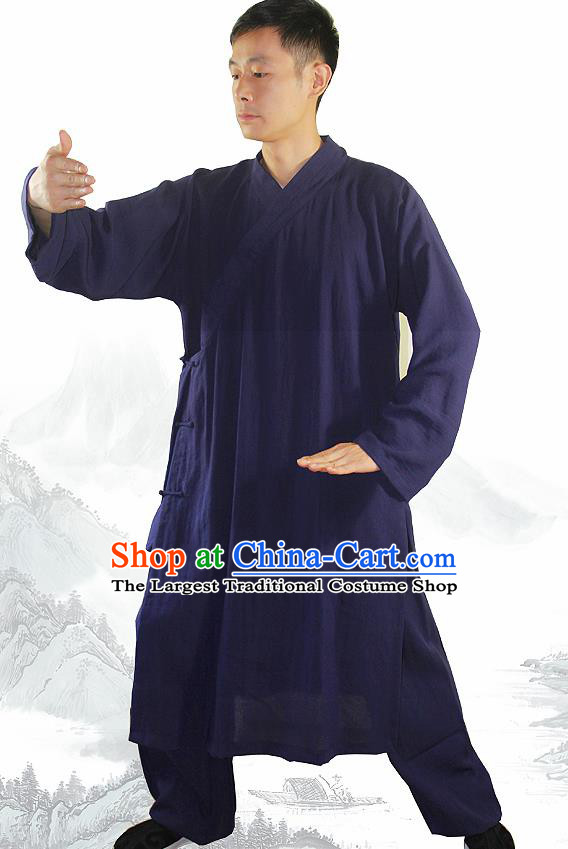 Chinese Traditional Martial Arts Blue Flax Robe Kung Fu Taoist Priest Tai Chi Costume for Men
