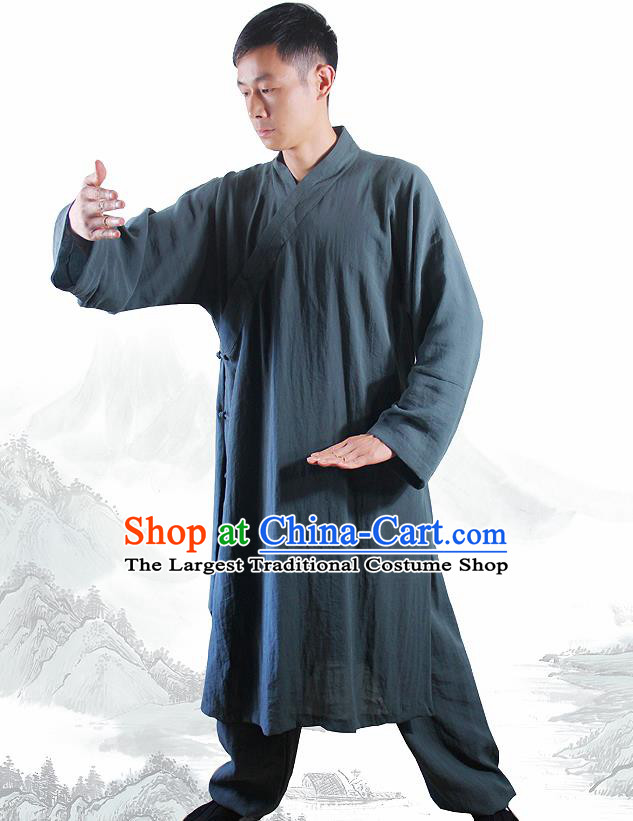 Chinese Traditional Martial Arts Atrovirens Flax Robe Kung Fu Taoist Priest Tai Chi Costume for Men