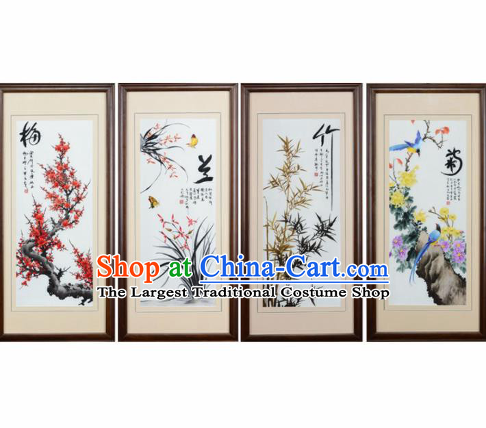 Traditional Chinese Handmade Suzhou Embroidery Plum Orchid Bamboo Chrysanthemum Wall Picture Embroidered Scroll Embroidery Craft