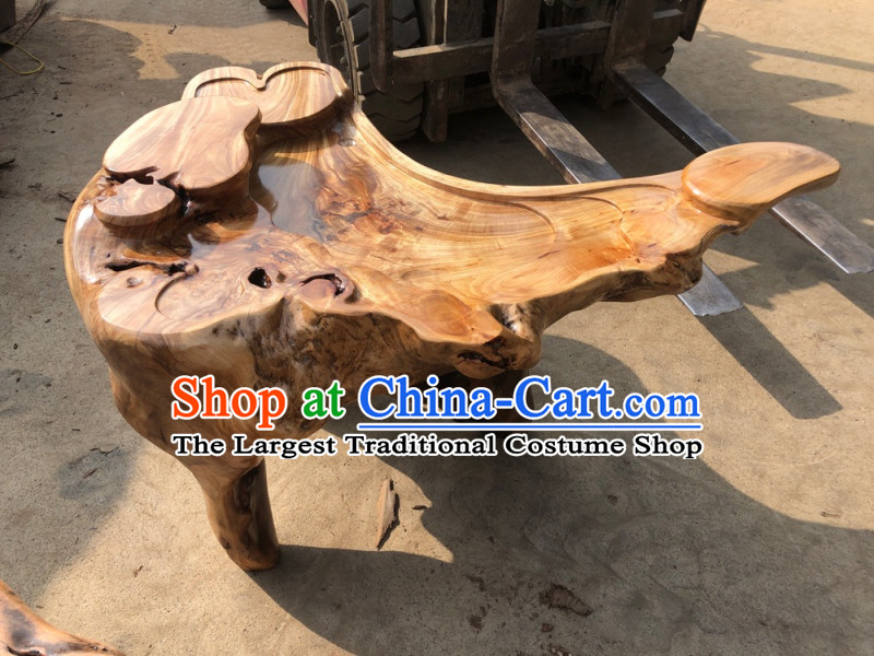 Chinese Stunning Hand Carved Tree Root Tea Table-Auspicious Cloud