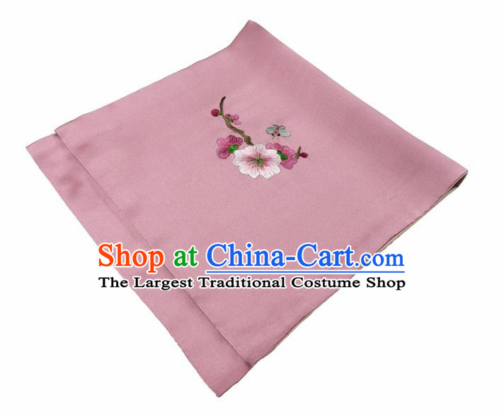 Chinese Traditional Handmade Embroidery Plum Blossom Deep Pink Silk Handkerchief Embroidered Hanky Suzhou Embroidery Noserag Craft