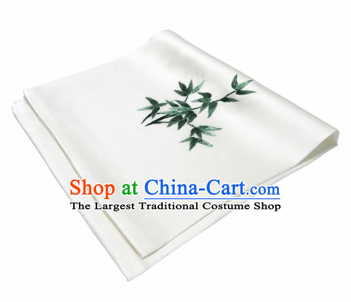 Chinese Traditional Handmade Embroidery Bamboo White Silk Handkerchief Embroidered Hanky Suzhou Embroidery Noserag Craft