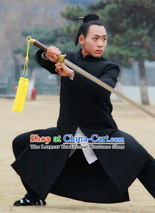 Chinese Traditional Martial Arts Winter Black Cotton Wadded Robe Priest Frock Kung Fu Taoist Priest Tai Chi Costume for Men