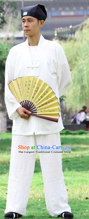 Traditional Chinese Martial Arts Wudang Taoist Priest White Outfits Kung Fu Tai Chi Costume for Men