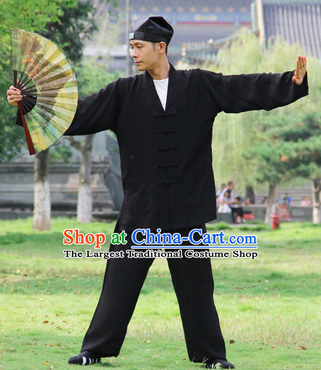 Traditional Chinese Martial Arts Wudang Taoist Priest Black Outfits Kung Fu Tai Chi Costume for Men