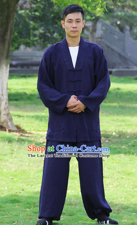 Traditional Chinese Martial Arts Wudang Taoist Priest Navy Outfits Kung Fu Tai Chi Costume for Men