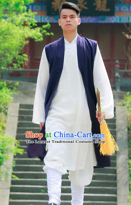 Traditional Chinese Wudang Taoist Priest Navy Outfits Martial Arts Kung Fu Tai Chi Costume for Men
