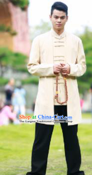 Traditional Chinese Kung Fu Tai Chi Beige Flax Jacket Martial Arts Competition Costume for Men