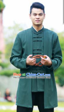 Traditional Chinese Kung Fu Tai Chi Deep Green Flax Jacket Martial Arts Competition Costume for Men