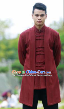 Traditional Chinese Kung Fu Tai Chi Purplish Red Flax Jacket Martial Arts Competition Costume for Men
