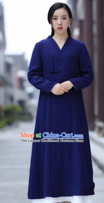 Chinese Traditional Tang Suit Royalblue Flax Dust Coat Classical Overcoat Costume for Women