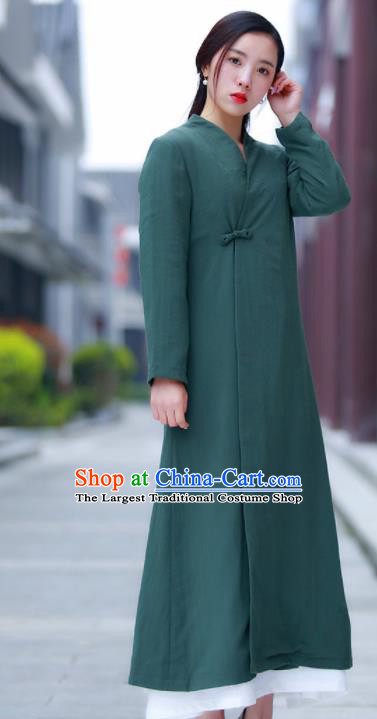 Chinese Traditional Tang Suit Green Flax Dust Coat Classical Overcoat Costume for Women