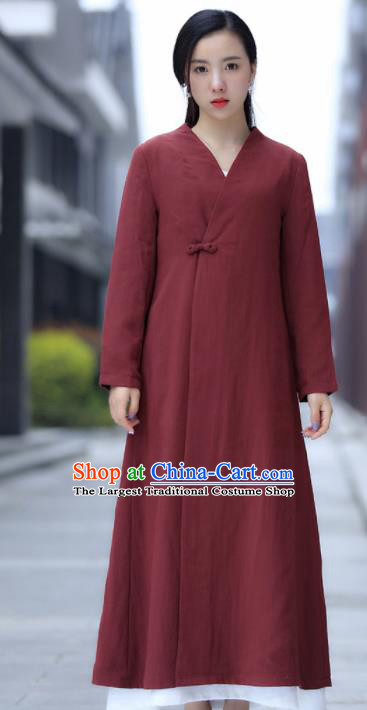 Chinese Traditional Tang Suit Rust Red Flax Dust Coat Classical Overcoat Costume for Women