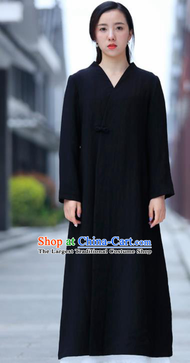 Chinese Traditional Tang Suit Black Flax Dust Coat Classical Overcoat Costume for Women