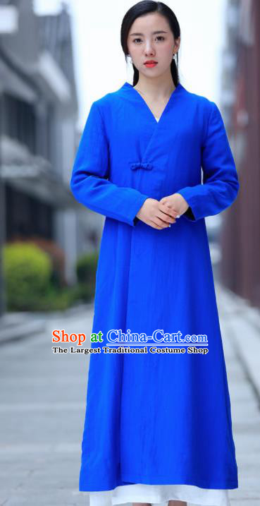 Chinese Traditional Tang Suit Blue Flax Dust Coat Classical Overcoat Costume for Women