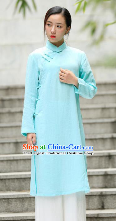 Chinese Traditional Tang Suit Light Blue Flax Qipao Blouse Classical Overcoat Costume for Women